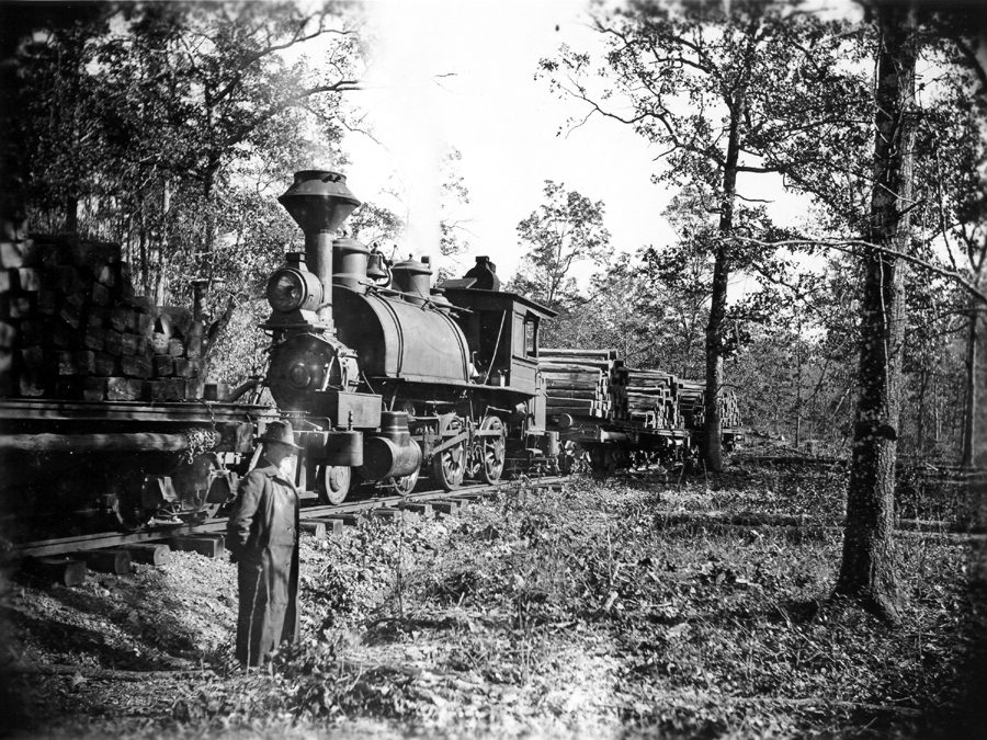 John Barber White in front of a MLM train laden with crossties